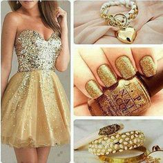 robe,verni et bijoux dorée