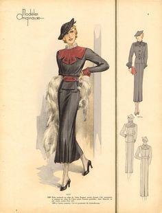 Shoe-Icons / Printed materials. Shoes Illustrated / Модель в длинном черном платье с чернобуркой