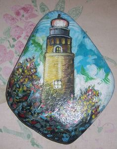 Painted+Rock+by+Artist++Joe+Kiburas++Lighthouse+by+Sea+