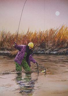 Fly Fishing Drawings | Dianne Michelin Fly Fishing Fine Art