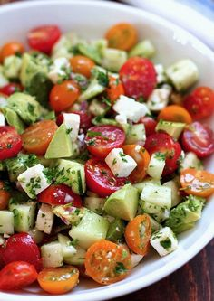 Tomato, Cucumber and Avocado Salad http://www.1mrecipes.com/tomato-cucumber-and-avocado-salad-a-healthy-treat/ Visit www.1mrecipes.com​ for more healthy recipes.