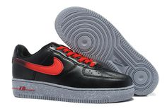 £85.00 Nike Air Force 1 Leather Low Men\'s Shoes Black Red Grey