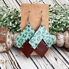 Green Leopard Cork and Leather Earrings, Geometric Earrings, Cheetah Leather Earrings, Statement Earrings, Large Earrings, Modern Earrings by whiteshedcreations on Etsy