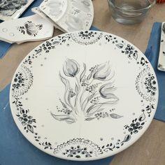 Delft earthware before firing Original design tulips and grape hyacinth :)