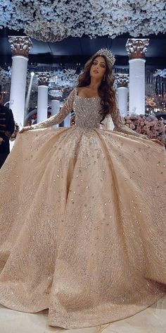 Extravagant Wedding Dresses, Pretty Quinceanera Dresses, Cute Wedding Dress, Wedding Dress Sleeves, Long Wedding Dresses, Princess Wedding Dresses, Wedding Bride, Dress Lace, Ivory Wedding