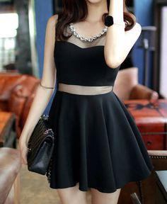 Sleeveless Solid Color Round Collar Slimming Mesh Splicing Sexy Dress For Women (BLACK,M)   Sammydress.com