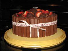 The hubs birthday cake!  Kit Kats and strawberries.