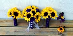 17 piece Sunflower Purple Rose Wedding by SilkFlowersByJean