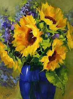 Sun Star Girasoles por Nancy Medina Petróleo ~ 16 x 12 Love her rendering of this cobalt blue glass vase! Art Floral, Watercolor Flowers, Watercolor Paintings, Oil Paintings, Painting Flowers, Watercolor Artists, Indian Paintings, Nature Paintings, Abstract Paintings