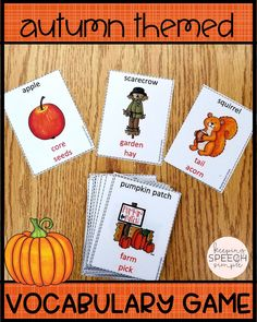 This fun, fall language game will have your students practicing using a variety of language functions without even knowing it! While students describe vocabulary, they will need to use part/whole, categorization, function and word associations. Fun to play in small groups or with whole classes. Ideal for elementary and middle school students. A great addition to the speech room! Also great for English classes and regular education classrooms. Click here to check out more of this fun activity!