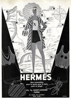Vintage French Hermes swimwear ad (1930).