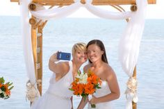 Brides selfie after the wedding ceremony