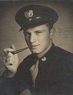 "Q57173 - Lieutenant John Oden Luttrell, Jr., in the uniform of a U.S. Army warrant officer. The photograph is signed, ""Merry Christmas to the Sweetest Girl in The World / Love Always / Jiggy."" (ADAH)"