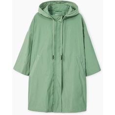 Hooded Water-Repellent Parka (425 RON) ❤ liked on Polyvore featuring outerwear, coats, green coat, hooded parka, waterproof coat, mango parka and water proof coat