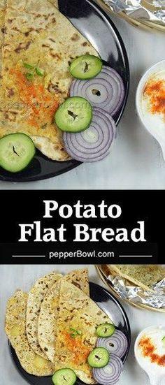 Potato flat bread recipe, Indian Aloo paratha, potato flat bread recipe with step by step pictures and instructions.