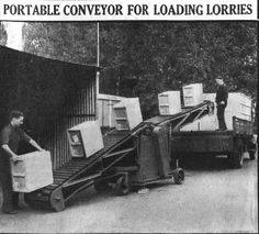 Bata Factory East Tilbury, Portable Conveyor for loading boxes onto Lorries, no more heavy lifting, Sept 28th 1951