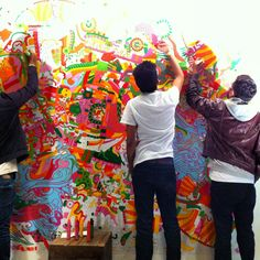 Public art starting with beautiful line work from Joshua Davis. Awesome!  #JoshuaDavis, #Mexico, #Murals