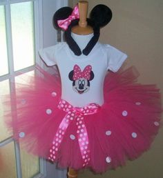 Pink  Sparkle Minnie Mouse Costume set by sweetiepietutus on Etsy, $45.50
