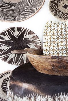 Tribal drum and baskets I picked up along the way during our African safari, Traditional Roti bowl from india. #chicvilleusa