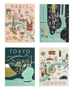 Rifle Paper Co. City Map Notecard Set, Assorted Home - Bloomingdale's Rifle Paper Company, Travel Themes, Travel Posters, Spot Illustration, Map Illustrations, Posca Art, City Maps, Travel Design, Design Art