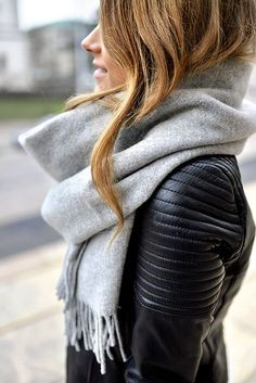 Cozy scarf + black leather.