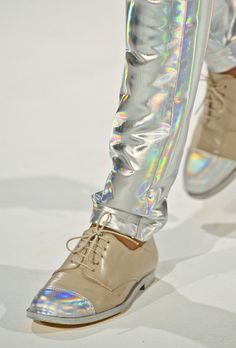 Hussein Chalayan - silver shiny pants and shoes dior ♥♥♥♥♥♥♥♥♥♥♥♥♥♥♥♥♥♥♥♥♥♥♥♥♥♥♥♥ Mode Shoes, Men's Shoes, Shoe Boots, Shiny Shoes, Dior Fashion, Fashion Shoes, Fashion Accessories, Steampunk Fashion, Gothic Fashion