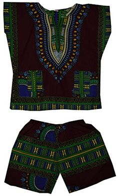 6078c2604d9 Traditional hand dye kids dashiki top, shirt, blouse with matching short.  This gorgeous dashiki top and short are made of soft cotton.