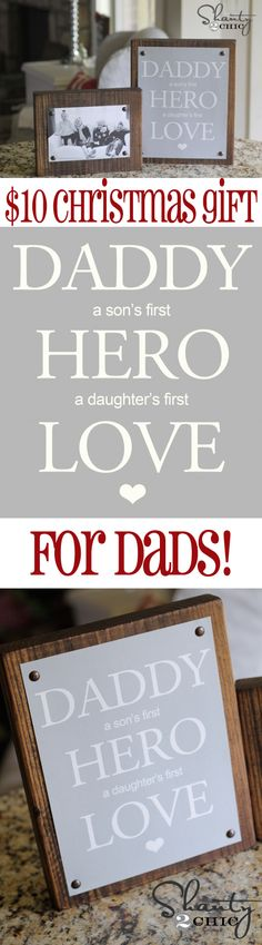 If we every have a girl Im so making this! Easy DIY #Christmas Gift for Dad from Shanty-2-Chic.com // Great Photo gift for Dads!!