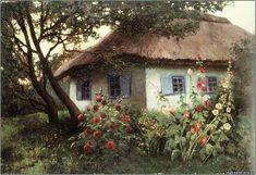 """""""Мальви біля хати."""" Євген Вжещ (1853-1917), Україна"""