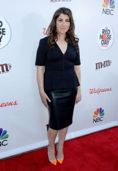 Mayim Bialik, Red Nose Day, Peplum Dress, Latex, Entertainment, Image, Dresses, Fashion, Curve Dresses