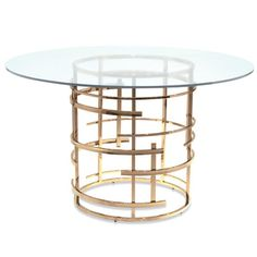 Mitchell Gold + Bob Williams's Jules glass-top dining table.