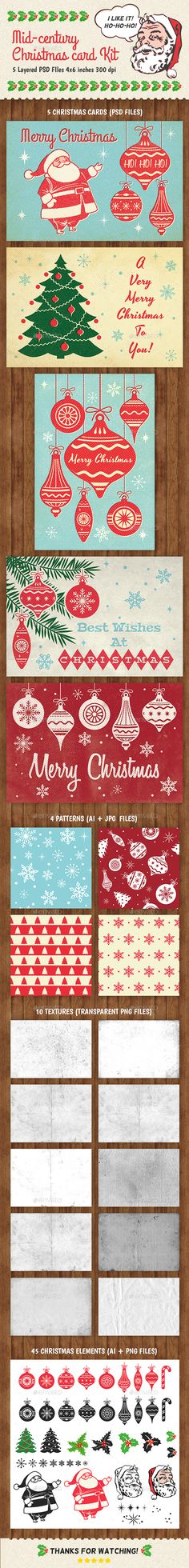 26 best best christmas templates images on pinterest christmas buy mid century christmas card kit by ottoson on graphicriver mid century christmas card kit package contains 5 layered psd files bleed all elements is reheart Image collections