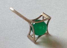 Kultaseppä Salovaara, vintage silver pendant with a green stone. #Finland