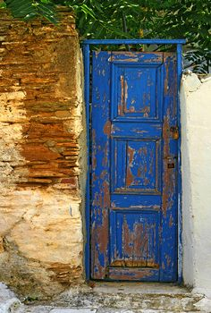 Blue door, Greece