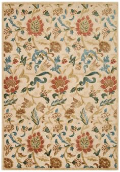 Graphic Illusions Light Gold Floral Area Rug