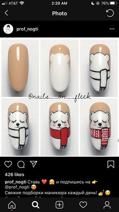 Pretty Nail Art, Cute Nail Art, Cute Nails, Nail Art Noel, Xmas Nail Art, Christmas Gel Nails, Holiday Nails, Fancy Nails, Trendy Nails