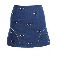 Eye Embroidered Blue Bodycon Skirt ($40) ❤ liked on Polyvore featuring skirts, bottoms, body con skirt, blue skirt, blue bodycon skirt, embroidered skirt and bodycon skirt