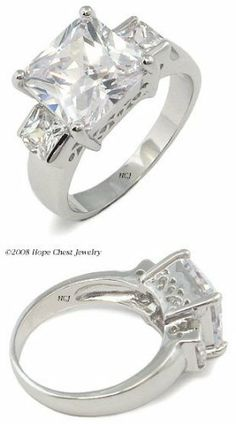11e594c26 Three Stone CZ Rings - Princess Cut 3 Stone CZ Engagement Ring  HopeChestJewelry. $15.49