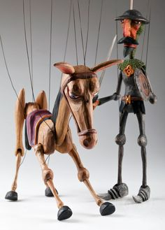 Our hand carved Don Quichotte Marionette is a real masterpiece and he will add a magical and adventurous feeling to any collection or interior. His loyal servant Sancho Panza and his donkey are a Marionette Puppet, Puppets, Puppetry Arts, Dom Quixote, Creepy Toys, Puppet Show, Red Riding Hood, Art Dolls, Hand Carved