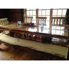 Rustic Pine Slab Dining Table   Pine and Bench