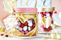 Gold Heart Mason Jars - Valentine Mason Jars - Valentine's Day Mason Jar Crafts - Valentine Gift Ideas in Jars