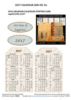 2017 CALENDAR ADD-ON for 2016 GRANDAD CALENDAR CARD | Craftsuprint
