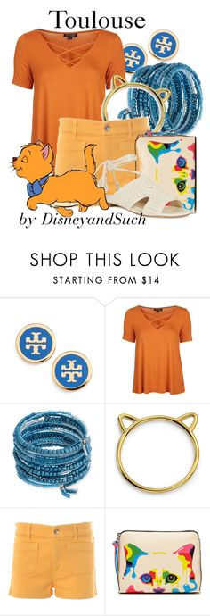 """""""Toulouse"""" by disneyandsuch ❤ liked on Polyvore featuring Tory Burch, Topshop, Erica Lyons, Bling Jewelry, The Seafarer, Karl Lagerfeld, disney, disneybound, thearistocats and WhereIsMySuperSuit"""