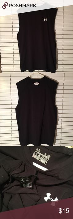 """Man Wares🆕⬆️Under Armour """"Loose heatgear""""🆕⬆️Sz L Man Wares⬆️Under Armour """"Loose heatgear."""" Sz L. Measurements: half rise (chest) 23"""", front length 25"""", back length 29"""". Material: 94% Polyester, 6% Elastane. Great used & loved condition (looks almost new).  LOOK AT ALL PICTURES-they are part of the description-I bundle, offer 10% off multiple items, & ship quick. OPEN TO OFFERS & Negotiations (willing to discuss FAIR offers!!) however, they will ONLY CONSIDERED through using the """"OFFER""""…"""