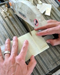 Using a wet saw to install glass subway tile backsplash {Reality Daydream} Glass Subway Tile Backsplash, Kitchen Backsplash, Daydream, Tiles, Rings For Men, Room Tiles, Men Rings, Tile, Kitchen Countertops