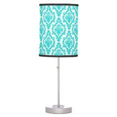 Blue damask pattern table lamp