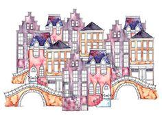 A4 Art Print illustratie, Amsterdam brug p! NK, 29,7 x 21 cm, aquarel en inkt
