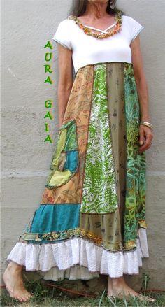 Poorgirl AuraGaia's Adrea~ Boho Upcycle Dress XS-M Houston Humane Socy Donation