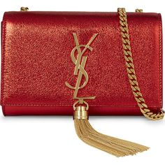 Saint Laurent Monogram small foil leather clutch ($1,395) ❤ liked on Polyvore featuring bags, handbags, clutches, red handbags, genuine leather purse, metallic purse, red leather handbags and red leather purse