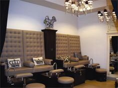 The pedicure area is tucked away in the back of the salon allowing technicians to lower the lights during services.